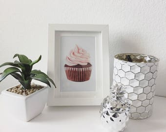 "Pink Cupcake Drawing Print - Wall Art - Food Art 5x7"""