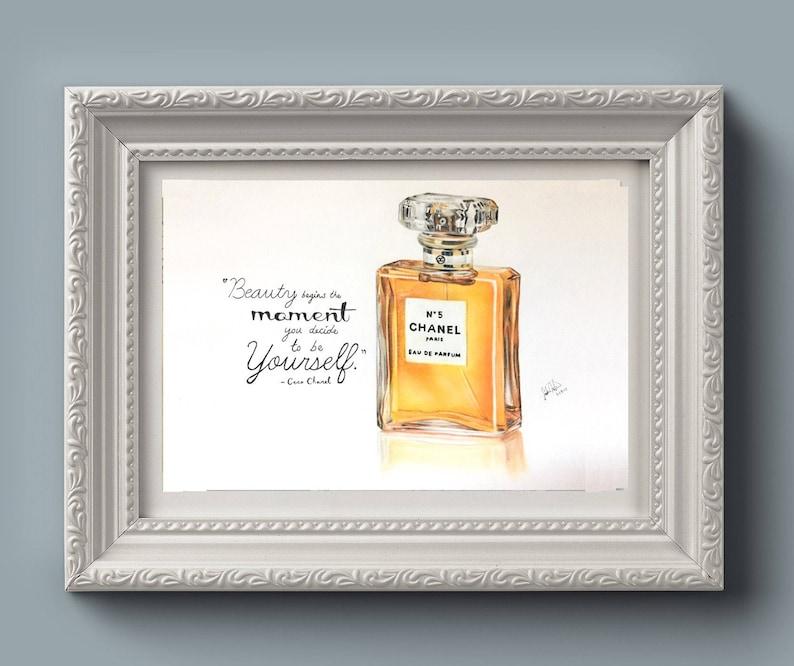 Chanel N 5 Parfum Dessin Imprimé Avec Citation Wall Art Etsy