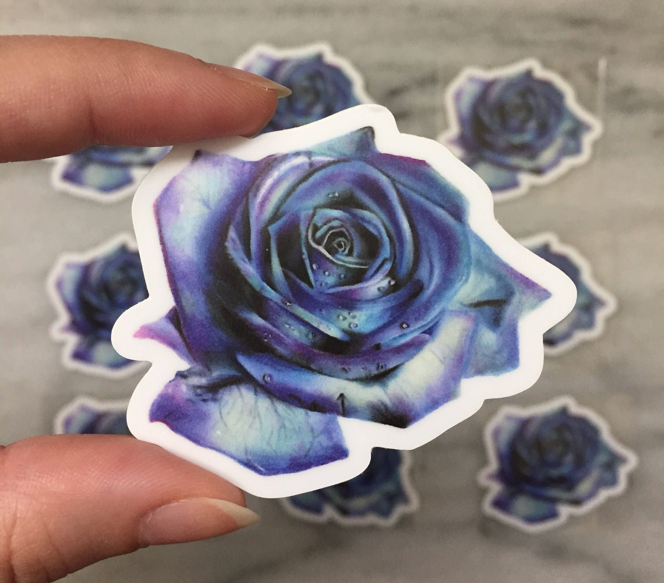 Blue And Purple Magical Rose Flower Sticker Etsy