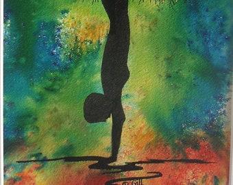 Original Painting - Yoga Inspired Art Mystical Tree Watercolour and Ink Diane Davis.NOT A PRINT Contemporary Art Meditation Wall Decor Yoga