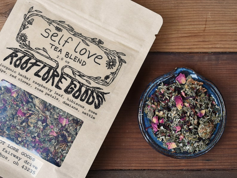 Self Love Herbal Tea | vitamin c calcium tea blend | raspberry roses  hibiscus caffeine free tea | organic herbs botanical natural loose leaf