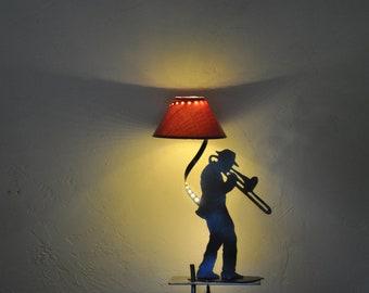 metal jazzman LED lamp, lounge lamp, music, jazz, LED fixture, wrought iron fixture, handmade, unique piece, gift, decoration,
