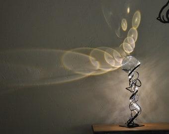metal table lamp, hand made
