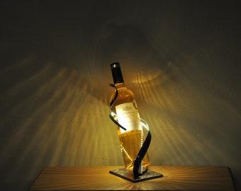 LED bottle holder, Metal wine bottle holder, made in France, hand made