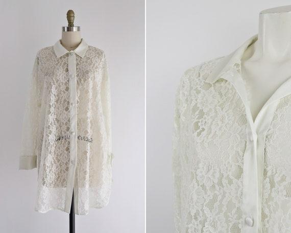 Vintage Victoria's Secret tunic, 80s/90s ivory lac