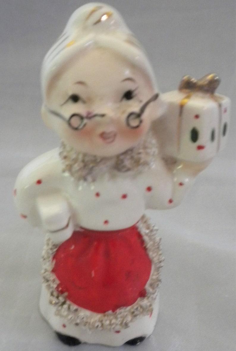 Vintage 1950 Santa Candleholder SALE- CHRISTMAS Commodore Milk for Santa Cup Mrs Collector Spaghetti trim Christmas Village