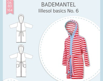 Paper cutting pattern Lillesol and Pelle Kids No.6 bathrobe with video sewing instructions