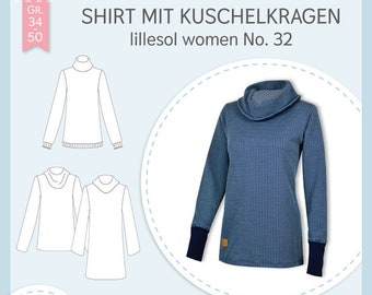 Paper cutting pattern Lillesol and Pelle women No.32 Shirt with cuddly collar with video sewing instructions