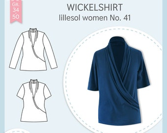 Paper cutting pattern Lillesol and Pelle women No.41 wrap shirt with video sewing instructions