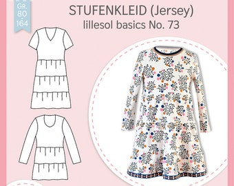 Paper cut pattern Lillesol and Pelle children basics No.73 step dress (Jersey) with video sewing guide