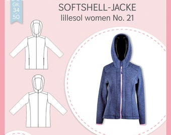 Paper cutting pattern Lillesol and Pelle women No.21 softshell jacket with video sewing instructions