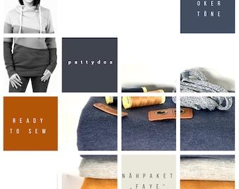 "Fabric Pack Hoodie ""FAYE"" by Pattydoo in Blue Oker Mustard Sweat Glitter Color Blockig"