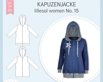 Paper sewing pattern Lillesol and Pelle women No.15 hooded jacket with video sewing instructions