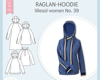 Paper cutting pattern Lillesol and Pelle women No.39 Raglan-Hoodie with video sewing guide