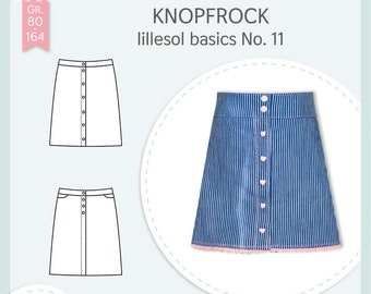 Paper cutting pattern Lillesol and Pelle women No.40 button skirt with video sewing guide