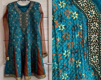 11793832bf9f3 Groene bruine jurk tuniek etnische goud geborduurd Floral Indian kaftan  Blue Boho jurk versierd 's avonds kaftan Gypsy tuniek maat XS/S