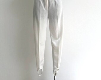 add5afa5932 80s White Stirrup Pants High Rise Pants Shiny 1980s Minimal Riding Pants  White Tapered Leg Stirrup Pants Leg Pants Size Small