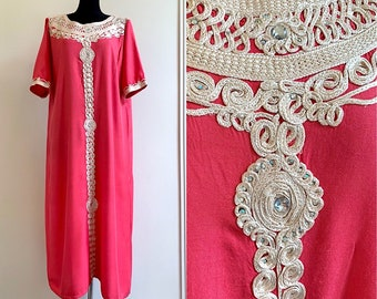 708808b9890 Pink Kaftan Maxi Caftan Indian Gypsy Traditional Boho Embroidered Pullover  Long Orient Beads Embroidered Tunic Cotton Dress XL