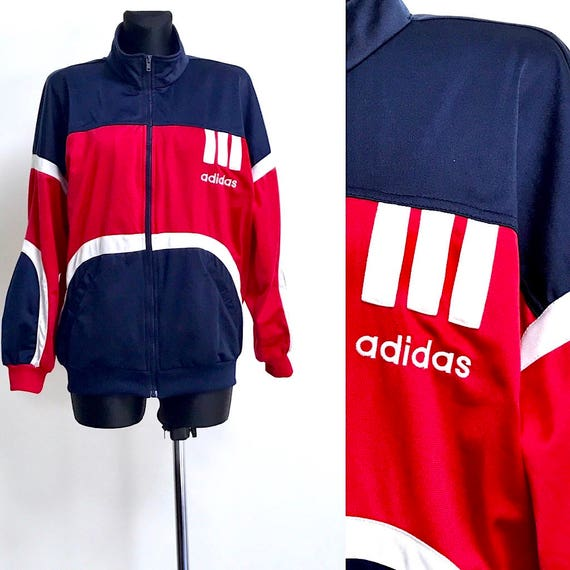 Vintage Adidas tracksuit track jacket in navy blue and red size M