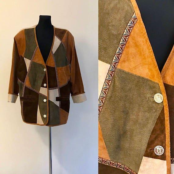 Vintage 90s Suede Leather Linen JACKET Women's Ext