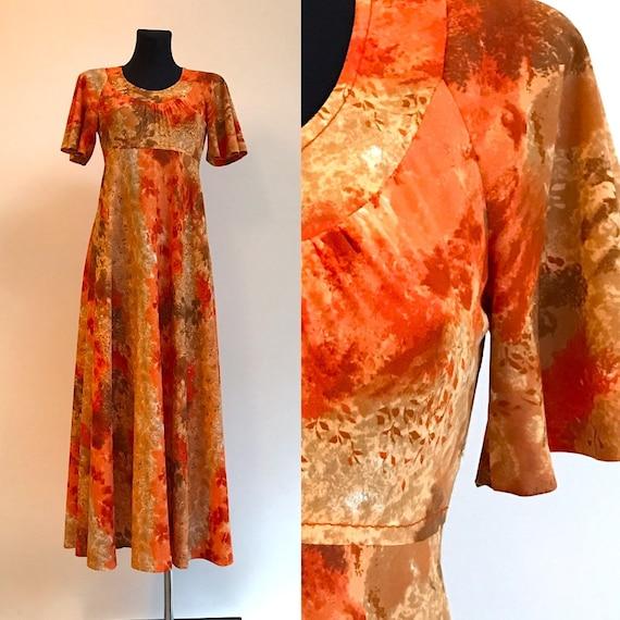 Dress Orange Speckled Summer Romantic Dress 1990s
