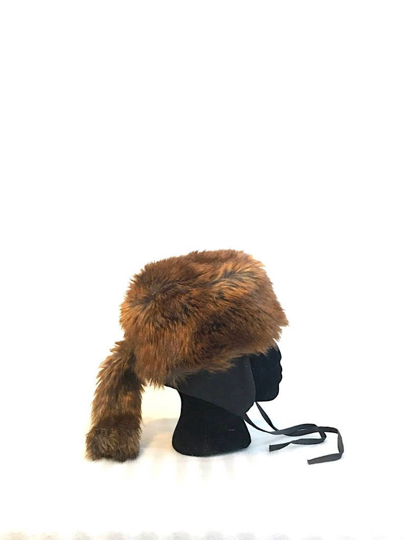 869cd2a6d29d2 Women s Vegan Fur Russian Style Hat with Tail Winter