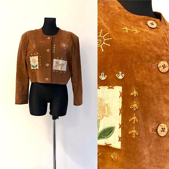 Women's Light Brown Beige Suede Leather Cropped Ja