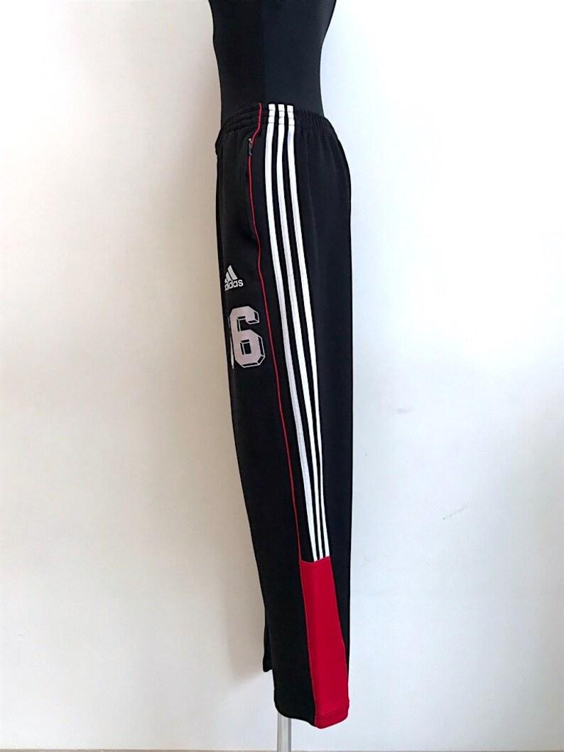 Athletic Gym Elastic Size Track Stripped Vintage Running 90s Black Waist Adidas Pants Large Sporty Workout Three 3uTFKlJ51c