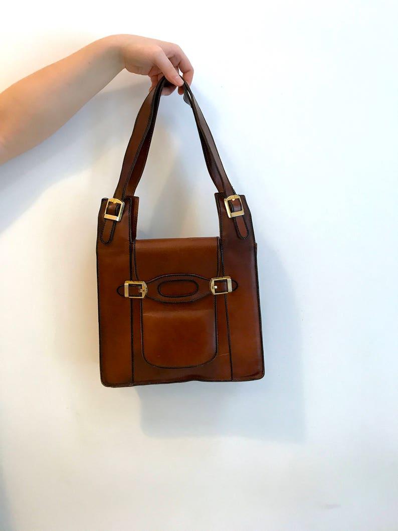 49b2f56e5527a Vintage 70er Jahre braun Leder Handtasche Handtasche Schnallen