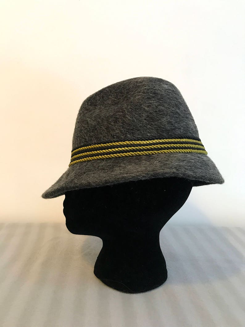 16af129d2 Alpine Hat Felt Tyrolean Original Gray with Black & Green Rope Hat Austrian  Wool Trachten Hat Tirolean Mountain Bavarian Oktoberfest Hat