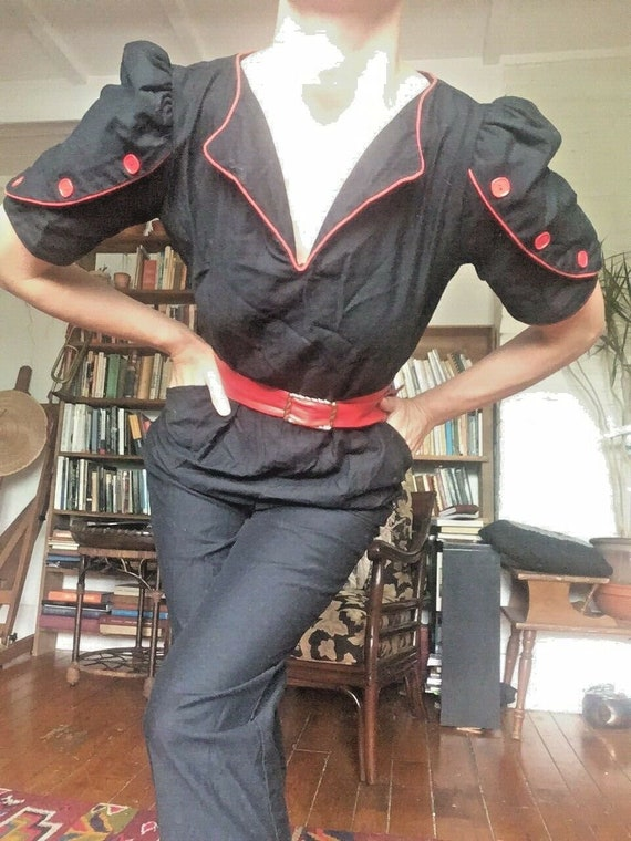 vintage pin-up 80s does 40s cotton sailor-style j… - image 2