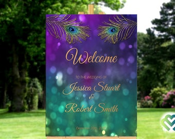 Peacock wedding decorations etsy peacock wedding welcome sign printable peacock purple gold wedding welcome poster wedding reception decoration peacock bridal stationery junglespirit Choice Image