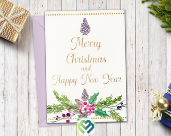 merry christmas card happy new year card greeting card holiday card xmas greeting card digital holiday card merry xmas diy