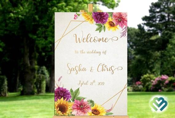 Sunflowers Dahlias Wedding Welcome Sign Printable Fall Wedding Welcome Reception Sign Wedding Decor Sunflower Wedding Decor Geometry