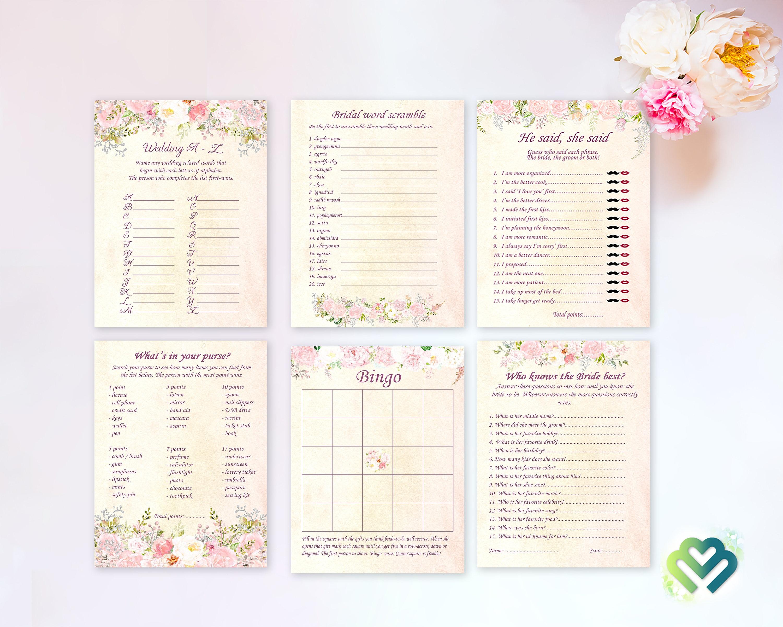 Floral BridalShower Games Printable Bridal Games Bundle Bridal Shower Games  Pack Roses Bridal Shower Game Bridal Party Games Digital File