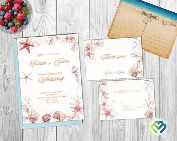 Beach Wedding Invitation Set Seaside Wedding Invite Ocean Etsy