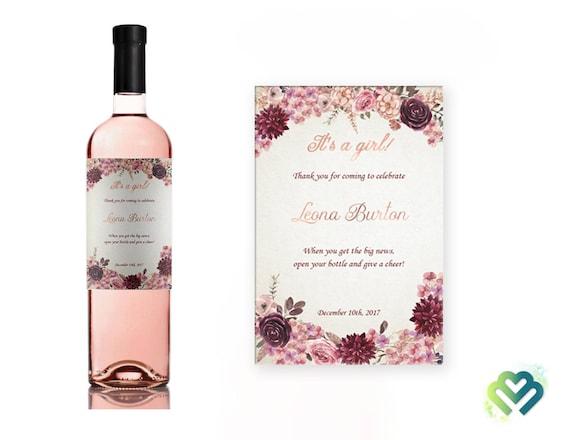 Mini Wine Bottle Labels It S A Girl Baby Shower Wine Etsy