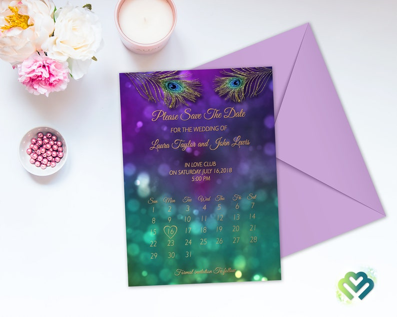 Peacock Purple Wedding Program Printable Wedding Ceremony Program Peacock Long Tea Program Peacock Themed Wedding Card Tower Program Card