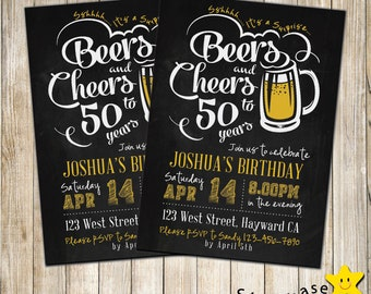 Digital Cheers And Beers Birthday Invitation Adult Man 30th 40th 50th Any Age