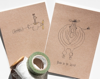 Set Two greeting Cards-A6-Congratulations card-Birthday card-Birth Announcement-baby card-Baby shower card-gift-Kraft paper
