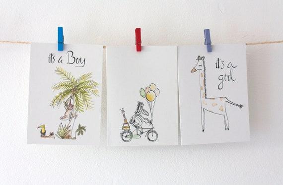 Set Of Three Cards Greeting Card Newborn Card Birth Card Etsy