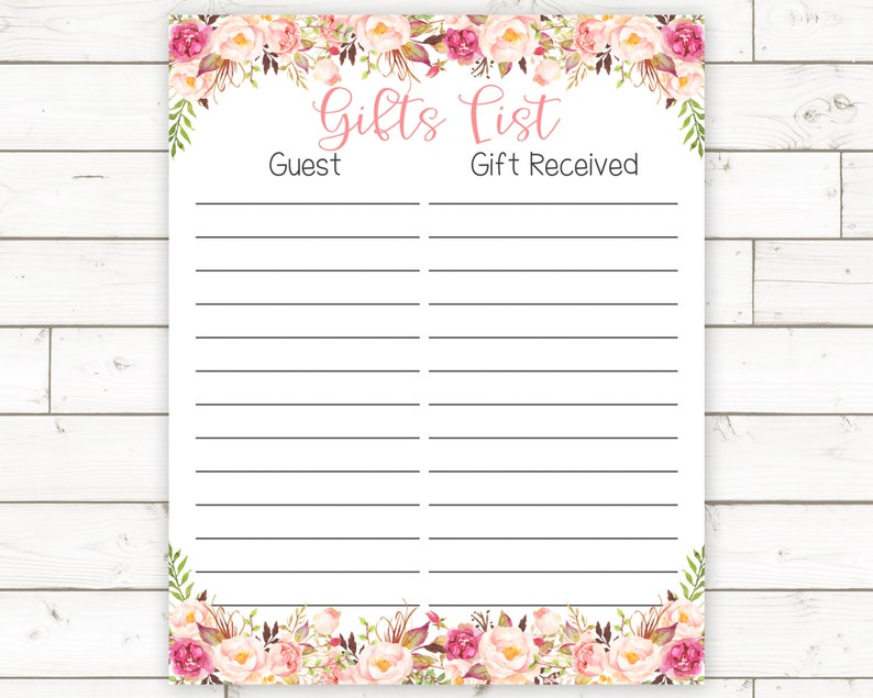 picture relating to Printable Baby Shower Gift List referred to as Child Shower Reward Checklist Printable, Kid Shower Reward Listing, Floral Youngster Shower Decor, Woodland Child Shower Decor, Lady Youngster Shower Present Listing