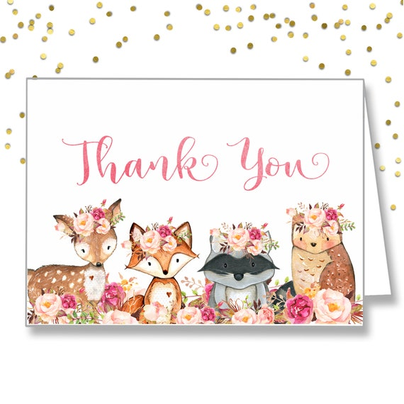 Printable Baby Shower Thank You Note Floral Woodland Baby Etsy