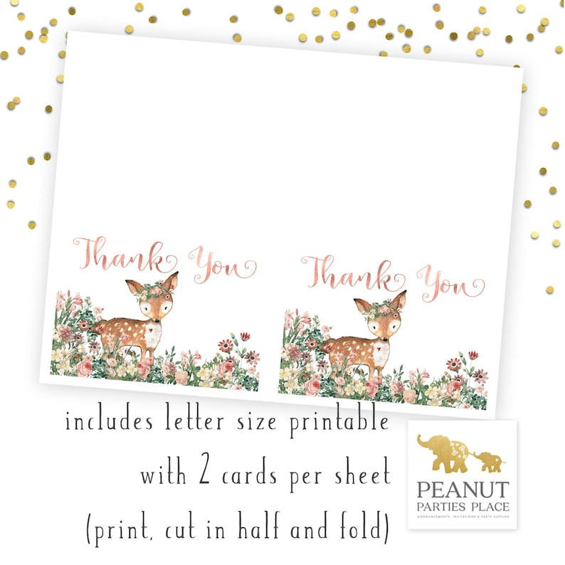 Floral Fawn Floral Deer Baby Shower Thank You Note Printable Thank You Card Printable Baby Shower Thank You Note Deer Theme Baby Shower