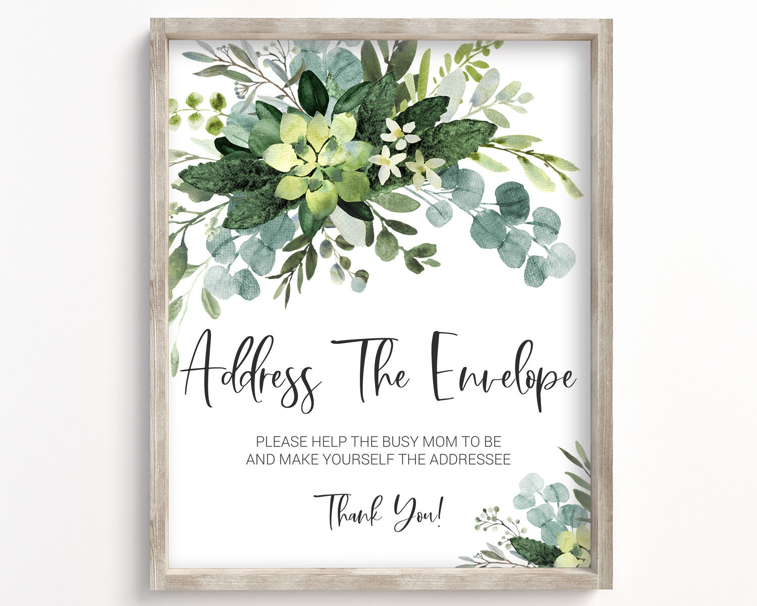 greenery address your envelope sign address your thank you