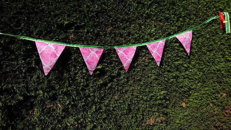 Fabric bunting 80s style print