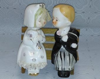 Vintage Kissing Bride and Groom Salt & Pepper Shakers Sitting on Wooden Bench 1950's (3)