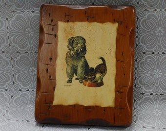 Vintage Poodle & Kitten Signed Painting on Wood Plaque (4)