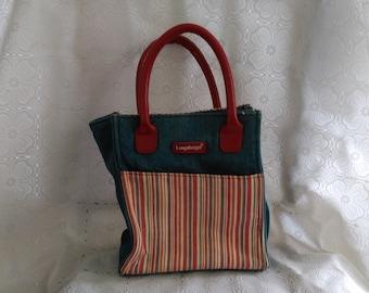 Longaberger Homestead Denim Bag Red White & Blue Small Purse Vintage Women's Pocketbook Accessories (1)
