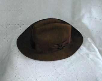 Vintage Indiana Jones Wool Fedora Hat Size M Classic Original Hat with Pin  and Name Printed (os) e26e002afa8a